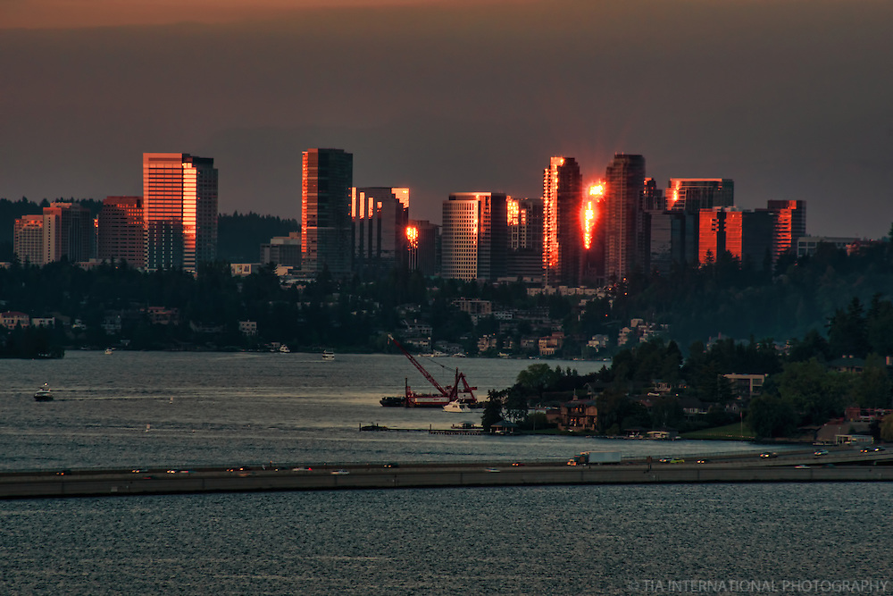 Bellevue Skyline & Lake Washington (Dusk)