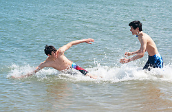 © Licensed to London News Pictures. 30/05/2019.<br /> Sheerness ,UK. Brothers Zac (L) and Toby (R) playing in the sea.  Warm sunny weather today as people enjoy a hot day at Sheerness-on-sea in Kent. This weekend is set to be the hottest of the year with forecasters predicting the UK to be warmer than Ibiza. Photo credit: Grant Falvey/LNP