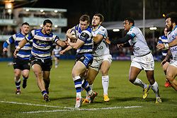 Bath Scrum-Half Chris Cook heads for the try line but is tackled short - Photo mandatory by-line: Rogan Thomson/JMP - 07966 386802 - 12/12/2014 - SPORT - RUGBY UNION - Bath, England - The Recreation Ground - Bath Rugby v Montpellier Herault Rugby - European Rugby Champions Cup Pool 4.