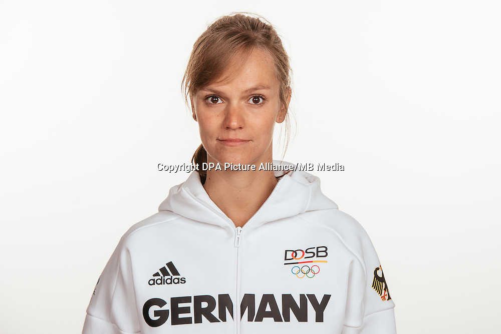Jana Teschke poses at a photocall during the preparations for the Olympic Games in Rio at the Emmich Cambrai Barracks in Hanover, Germany, taken on 15/07/16 | usage worldwide