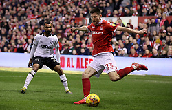 Nottingham Forest's Joe Lolley in action with Derby County's Ashley Cole
