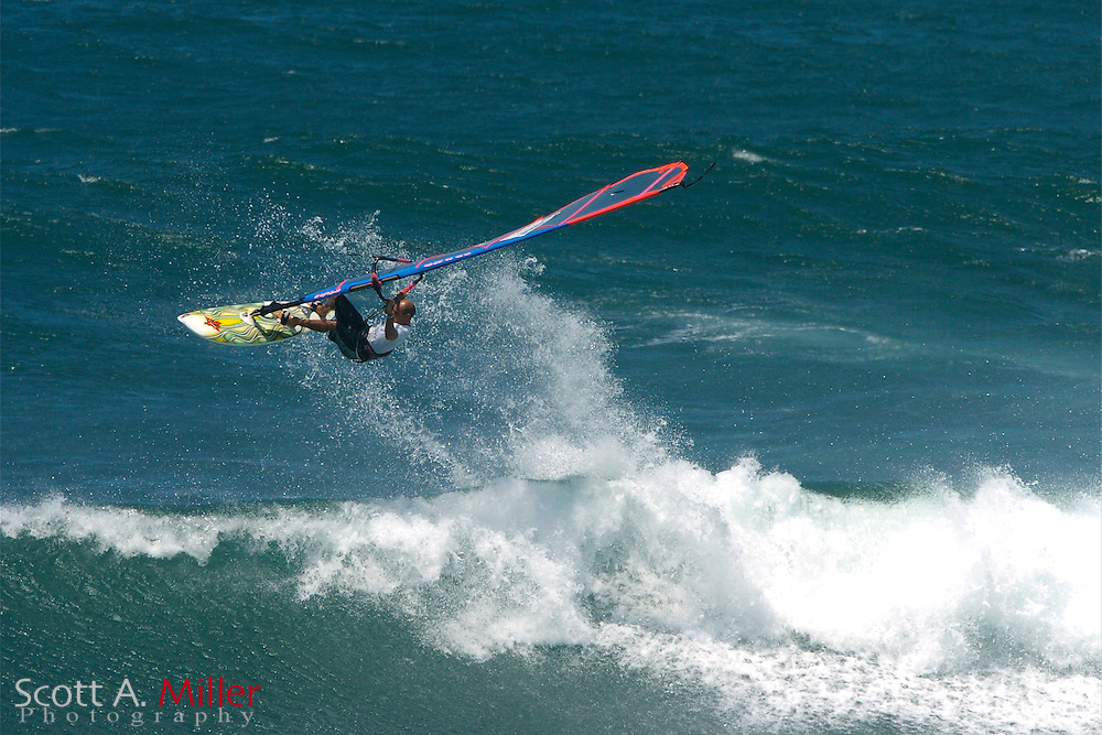 APRIL 2004 -- A wind surfer catches some air off the north shore of Maui.