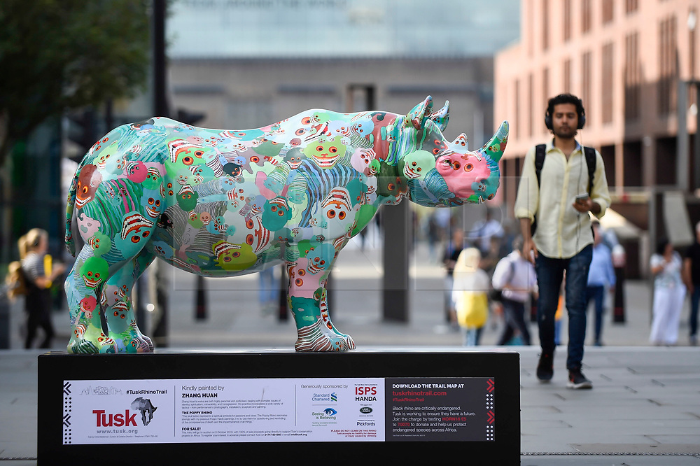 """**CAPTION CORRECTION - Rhino statues are 750mm tall, not 750cm tall, as stated in previous captions**<br /> © Licensed to London News Pictures. 20/08/2018. LONDON, UK. A man passes by """"The Poppy Rhino"""", a rhino painted by Zhang Huan, near the Millennium Bridge.  At 750mm tall and weighing 300 kg, each rhino has been specially embellished by an internationally renowned artist.  21 rhinos are in place at a popular location in central London, forming the Tusk Rhino Trail, until World Rhino Day on 22 September to raise awareness of the severe threat of poaching to the species' survival.  They will then be auctioned by Christie's on 9 October to raise funds for the Tusk animal conservation charity.  Photo credit: Stephen Chung/LNP"""