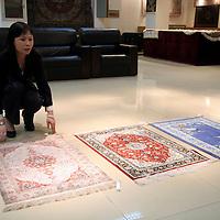 Asia, China, Beijing.  Silk Carpet Showroom in Beijing.