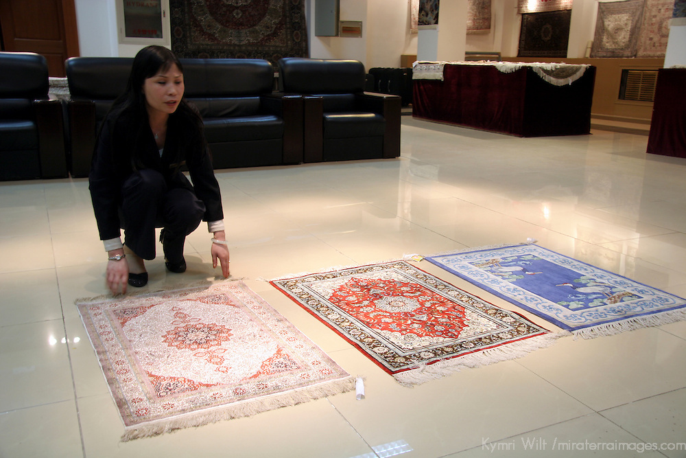 Asia, China, Beijing.  Silk Carpet Showroom in Beijing.