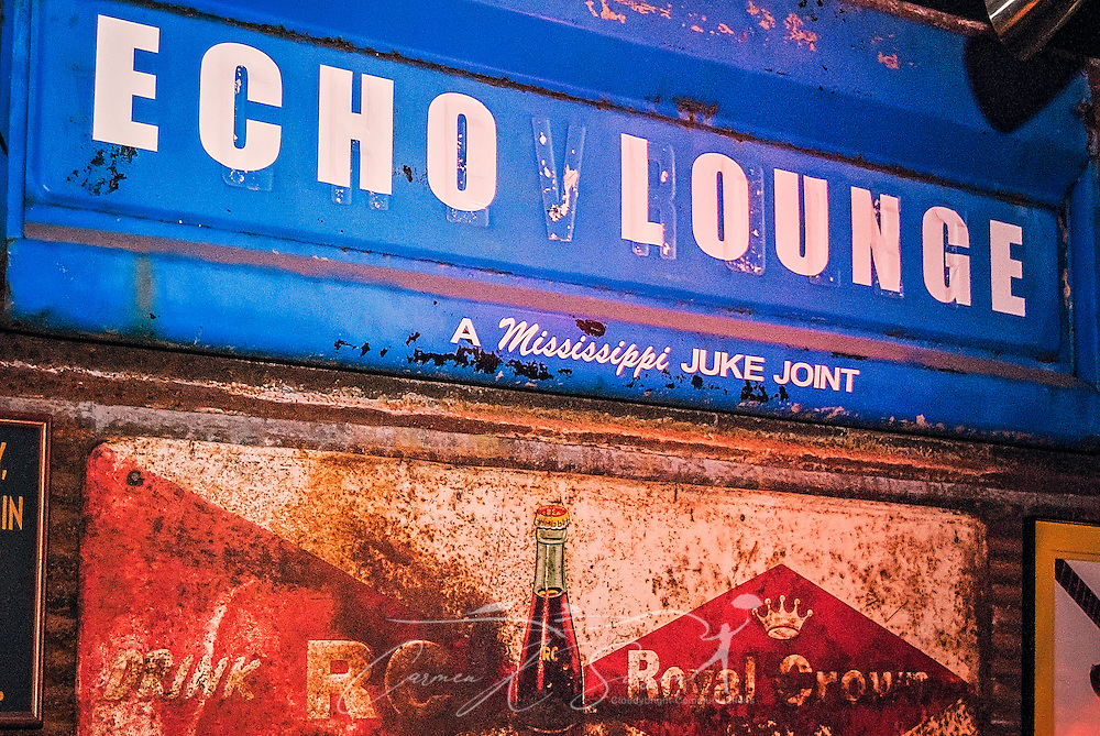 "A sign advertises hangs above the doorway of Echo Lounge, proclaiming it as ""A Mississippi Juke Joint,"" Feb. 28, 2011, in Meridian, Alabama. (Photo by Carmen K. Sisson/Cloudybright)"