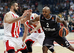 BELGRADE (SERBIA), Nov. 2, 2017  Brose Bamberg's Ricky Hickman (R) vies with Crvena Zvezda's Branko Lazic (L) during Euroleague basketball match between Crvena Zvezda and Brose Bamberg in Belgrade, Serbia on Nov. 2. 2017. Brose Bamberg won 75:69  (Credit Image: © Predrag Milosavljevic/Xinhua via ZUMA Wire)