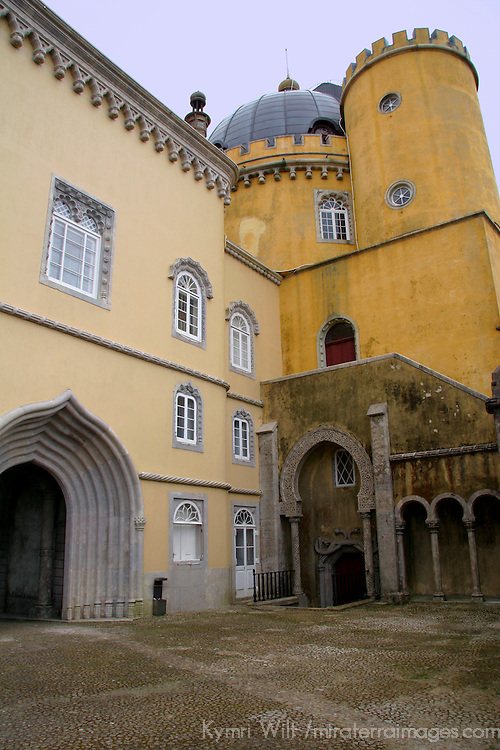 Europe, Portugal, Sintra. The Arches Yard at Pena National Palace, a UNESCO World Heritage Site.