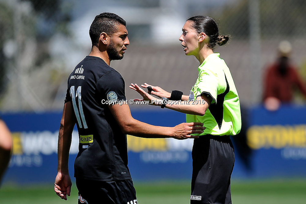 Ref Anna-Marie Keighley (R deals with Team Wellington's Mario Barcia during the Premiership football match between Wellington & Eastern Suburbs, at David Farrington Park in Miramar on Saturday the 26th November 2016. Copyright Photo by Marty Melville / www.Photosport.nz