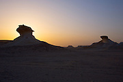 "The ""desert mushrooms"" at Bir Zekreet at sunset."