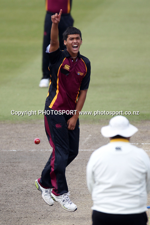 Toa Davies appeals for a wicket, Twenty 20 cricket, Northern Districts Maori v Cook Islands, Seddon Park, Hamilton. 4 April 2011. Photo: William Booth/photosport.co.nz