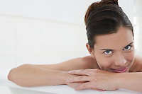 Woman relaxing in bathtub close-up portrait