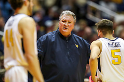 Nov 28, 2018; Morgantown, WV, USA; West Virginia Mountaineers head coach Bob Huggins talks to his players during the second half against the Rider Broncs at WVU Coliseum. Mandatory Credit: Ben Queen-USA TODAY Sports