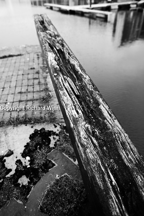 Lock gate at the entrance to Bridgwater Quay, from the Bridgwater and Taunton Canal, showing the rotting wood.