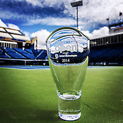 August 23, 2014, New Haven, CT:<br /> The Connecticut Open Singles Champion trophy is shown on day nine of the 2014 Connecticut Open at the Yale University Tennis Center in New Haven, Connecticut Saturday, August 23, 2014.<br /> (Photo by Billie Weiss/Connecticut Open)