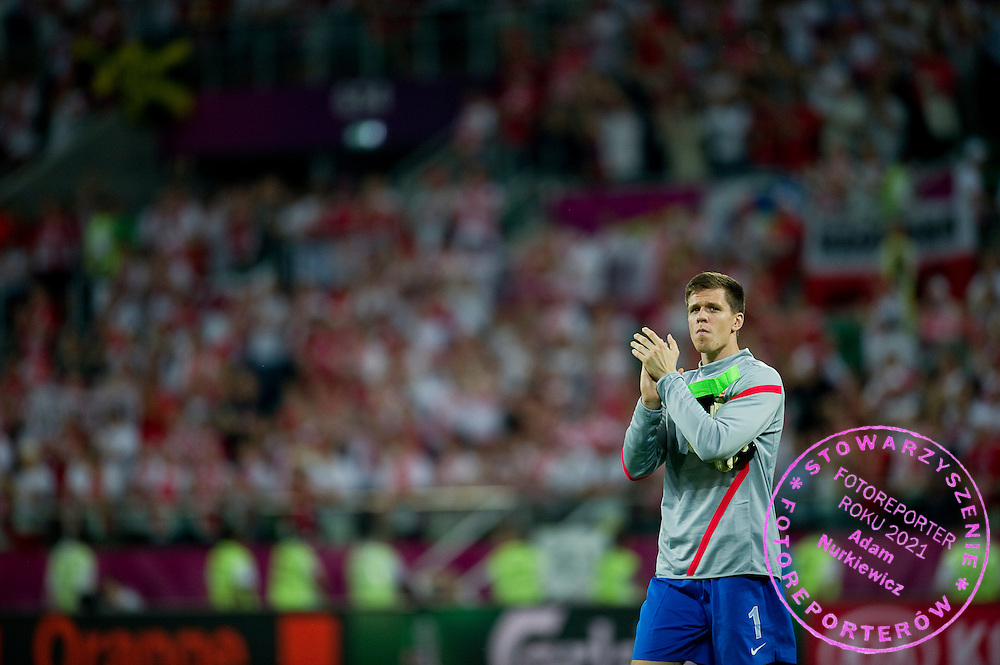 Poland's goalkeeper Wojciech Szczesny (nr01) after the UEFA EURO 2012 Group A football match between Poland and Czech Republic at Municipal Stadium in Wroclaw on June 16, 2012...Poland, Wroclaw, June 16, 2012..Picture also available in RAW (NEF) or TIFF format on special request...For editorial use only. Any commercial or promotional use requires permission...Photo by © Adam Nurkiewicz / Mediasport