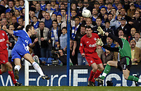 Picture: Henry Browne, Digitalsport<br /> Date: 27/04/2005.<br /> Chelsea v Liverpool Champions League Semi-Final.<br /> Frank Lampard of Chelsea puts his effort over the bar in the first half.