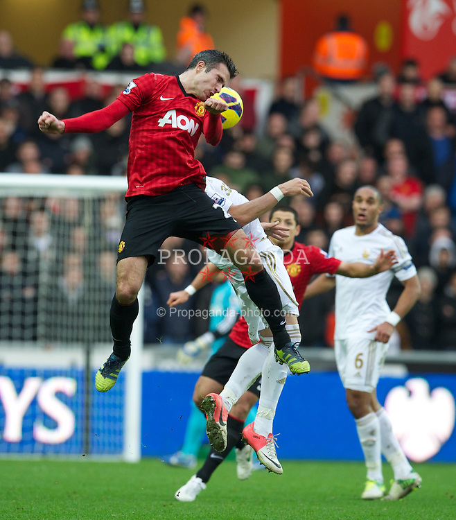 SWANSEA, WALES - Sunday, December 23, 2012: Manchester United's Robin van Persie in action against Swansea City during the Premiership match at the Liberty Stadium. (Pic by David Rawcliffe/Propaganda)