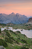 Sunset alpenglow over Limestone Lakes Basin, Height-of-the-Rockies Provincial Park British Columbia Canada