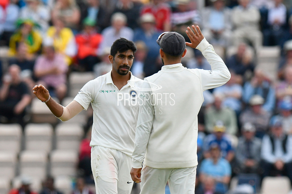 Wicket - Jasprit Bumrah of India celebrates taking the wicket of Stuart Broad of England during the first day of the 4th SpecSavers International Test Match 2018 match between England and India at the Ageas Bowl, Southampton, United Kingdom on 30 August 2018.