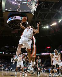 Virginia Cavaliers Forward Lyndra Littles (1) grabs a rebound against Miami.  The University of Virginia Cavaliers defeated the Miami Hurricanes Women's Basketball Team 73-60 at the John Paul Jones Arena in Charlottesville, VA on February 4, 2007.