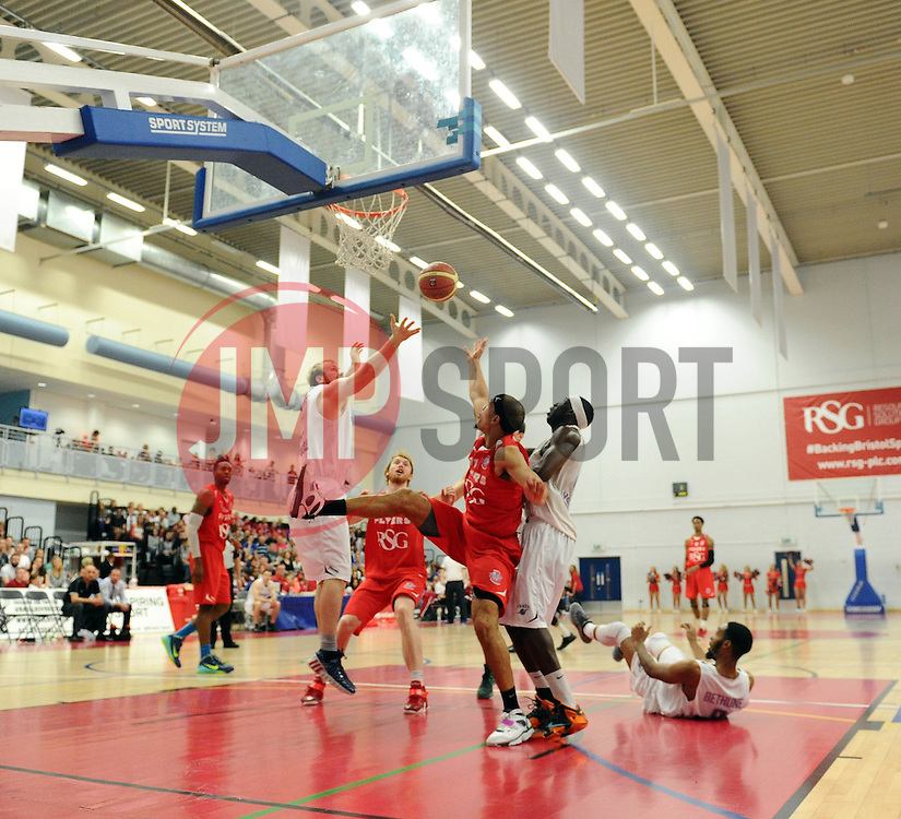 Bristol Flyers' Greg Streete goes for a basket  - Photo mandatory by-line: Joe Meredith/JMP - Mobile: 07966 386802 - 18/04/2015 - SPORT - Basketball - Bristol - SGS Wise Campus - Bristol Flyers v Leeds Force - British Basketball League