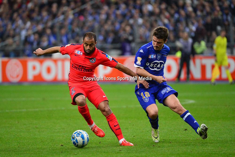 LUCAS MOURA  / Yannick CAHUZAC    - 11.04.2015 -  Bastia / PSG - Finale de la Coupe de la Ligue 2015<br />Photo : Dave Winter / Icon Sport