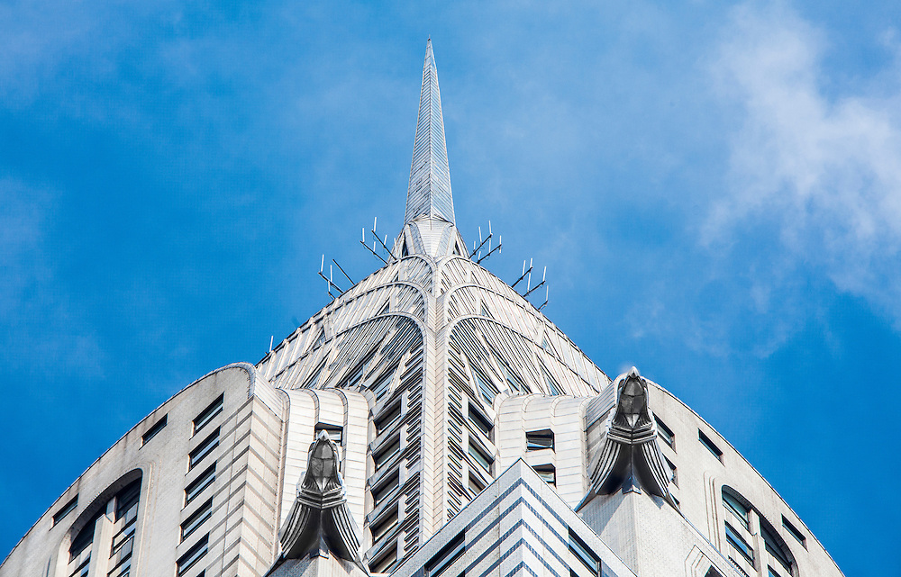 A straight up view of the upper floors and stainless steel Art Deco spire of the Chrysler Building.