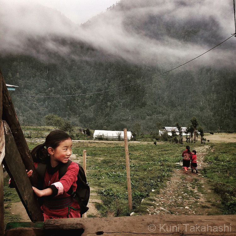 School children at Merak village in eastern Bhutan on Sep 10, 2015.<br /> (Photo by Kuni Takahashi)