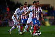 MADRID, SPAIN - APRIL 27: Mario Suarez of Club Atletico de Madrid in action during the Liga BBVA between Club Atletico de Madrid and Real Madrid CF at the Vicente Calderon stadium on April 27, 2013 in Madrid, Spain. (Photo by Aitor Alcalde Colomer).