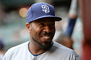 PHOENIX, AZ - APRIL 27:  Johnny Washington #28 of the San Diego Padres smiles in the dugout prior to the MLB game against the Arizona Diamondbacks at Chase Field on April 27, 2017 in Phoenix, Arizona. The Arizona Diamondbacks won 6 - 2.  (Photo by Jennifer Stewart/Getty Images)