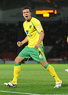 Doncaster - Tuesday September 14th, 2010:  Norwich City's Andrew Crofts celebrates his sides only goal of the game  during the NPower Championship match at Keepmoat Stadium, Doncaster. (Pic by Dave Howarth/Focus Images)