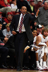 Dec 22, 2011; Stanford CA, USA;  Stanford Cardinal head coach Johnny Dawkins argues a call on the sidelines against the Butler Bulldogs during the first half at Maples Pavilion.  Mandatory Credit: Jason O. Watson-US PRESSWIRE
