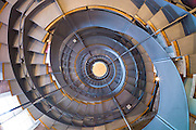 Spiral staircase in Mackintosh Tower part of the Lighthouse centre for architecture in Mitchell Lane commemorating Charles Rennie Mackintosh in Glasgow, Scotland, UK