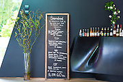 Blackboard cafe lunch and snacks menu Smorrebrod - smorgasbord and drinks on bar at Ordrupgaard Art Design Museum, Denmark