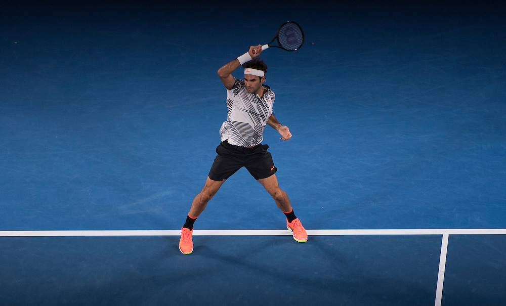 Roger Federer of Switzerland takes on Jurgen Melzer of Austria during their first round match on day one of the 2017 Australian Open in Melbourne, Australia on January 16, 2017.<br /> (Ben Solomon/Tennis Australia)