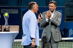 Gasper Bolhar and Borut Pahor at Trophy ceremony after the Final match at Day 10 of ATP Challenger Zavarovalnica Sava Slovenia Open 2019, on August 18, 2019 in Sports centre, Portoroz/Portorose, Slovenia. Photo by Vid Ponikvar / Sportida
