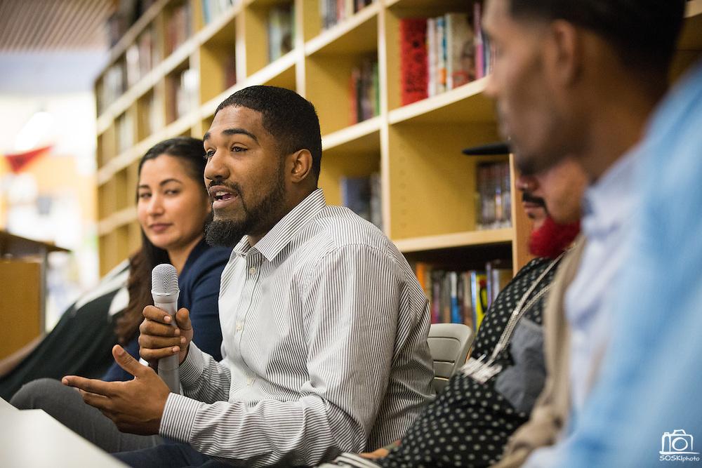 Cristino Rivera presents during the Black Student Union seminar at Milpitas High School in Milpitas, California, on February 27, 2016. (Stan Olszewski/SOSKIphoto)