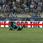 D.C. United Keeper BILL HAMID (28) attempts to makes a save in the second half a MLS regular season match against the Philadelphia Union Saturday, August. 10, 2013 at PPL Park in Chester PA.