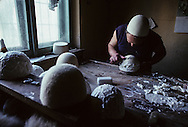 Albania. This man is one of the last to make the traditional white Albanian hat. 254.255.  /     Albania     / Cet artisan est un des derniers a fabriquer le chapeau traditionnel albanais en feutre blanc.    Albanie   / R00039/105    L2438  /  P0008321