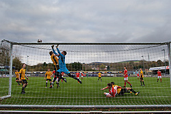 MERTHYR TYDFIL, WALES - Thursday, November 2, 2017: Newport County's goalkeeper Callum Brain makes a save during an Under-18 Academy Representative Friendly match between Wales and Newport County at Penydarren Park. (Pic by David Rawcliffe/Propaganda)