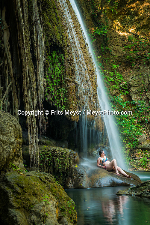 Thailand, April 2016. Swim in the clear waters of the Erawan Waterfall. Travel Highlights of Mainland Thailand. Photo by Frits Meyst / MeystPhoto.com