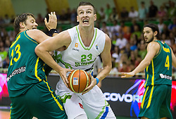 David Andersen of Australia vs Alen Omic of Slovenia during friendly basketball match between National teams of Slovenia and Australia, on August 3, 2015 in Arena Tri lilije, Lasko, Slovenia. Photo by Vid Ponikvar / Sportida