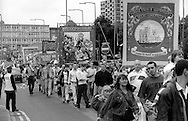 Selby Coalfield, North Selby and Ellington Branch banners. 1993 Yorkshire Miner's Gala. Wakefield.