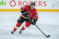 PENTICTON, CANADA - SEPTEMBER 16: Mikkel Aagaard #95 of Calgary Flames skates against the Winnipeg Jets on September 16, 2016 at the South Okanagan Event Centre in Penticton, British Columbia, Canada.  (Photo by Marissa Baecker/Shoot the Breeze)  *** Local Caption *** Mikkel Aagaard;