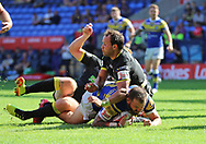 Adam Cuthbertson of Leeds Rhinos scores the second try against Warrington Wolves during the Ladbrokes Challenge Cup Semi Final match at the Macron Stadium Stadium, Bolton.<br /> Picture by Michael Sedgwick/Focus Images Ltd +44 7900 363072<br /> 05/08/2018