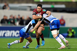 Brad Barritt (Saracens) takes on the Connacht defence - Photo mandatory by-line: Patrick Khachfe/JMP - Tel: Mobile: 07966 386802 18/01/2014 - SPORT - RUGBY UNION - Allianz Park, London - Saracens v Connacht Rugby - Heineken Cup.