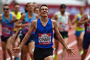 Chris O'Hare of Great Britain celebrates after winning the Men's 1500m during the Muller Anniversary Games at the London Stadium, London, England on 9 July 2017. Photo by Martin Cole.