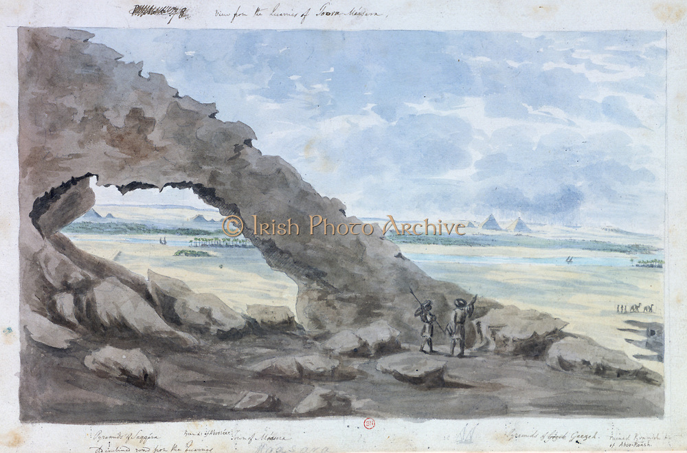View from the quarries of Toora  Maasara'. Three groups of pyramids can be seen in the distance. From left to right, Saqqara, Abooseer, and Giza (Giza). John Gardner Wilkinson (1797-1875) English explorer and Egyptologist.