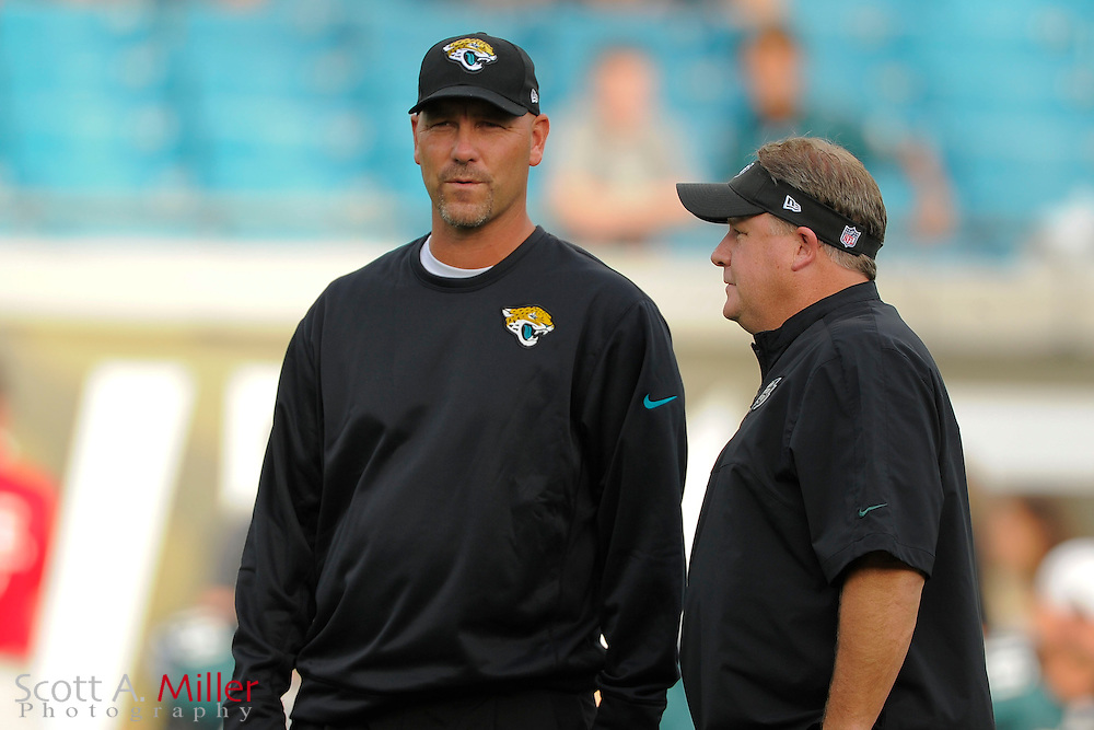 Jacksonville Jaguars head coach Gus Bradley and Philadelphia Eagles head coach Chip Kelly during a preseason NFL game at EverBank Field on Aug. 24, 2013 in Jacksonville, Florida. <br /> <br /> &copy;2013 Scott A. Miller